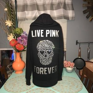 VS PINK SUPER RARE SKULL 💀 BLING ZIP UP